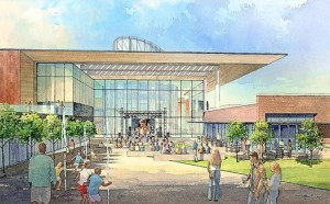 This conceptual drawing depicts what the Mississippi Arts and Entertainment Center will look like once completed.